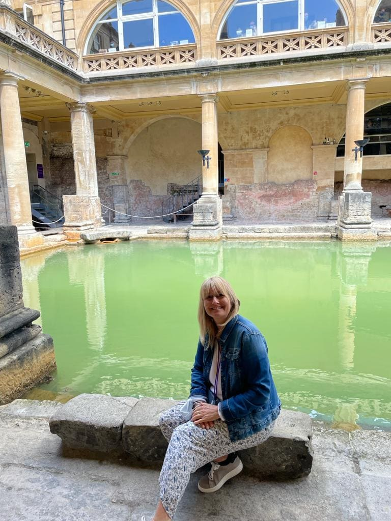 Lizzie at the Roman baths